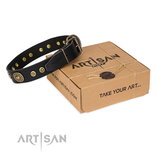 Genuine leather dog collar made of top rate material with rust resistant buckle