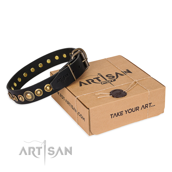 Top notch full grain genuine leather dog collar made for walking