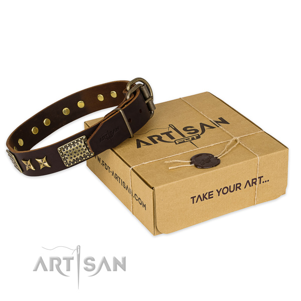 Durable buckle on natural genuine leather collar for your lovely canine
