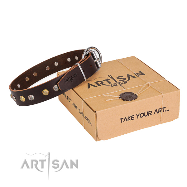 Soft to touch natural genuine leather dog collar crafted for easy wearing