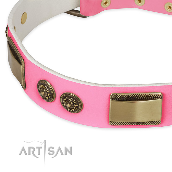 Leather dog collar with studs for comfy wearing