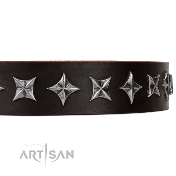 Everyday walking embellished dog collar of reliable full grain leather