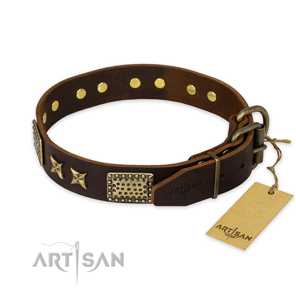 Strong hardware on full grain leather collar for your impressive canine