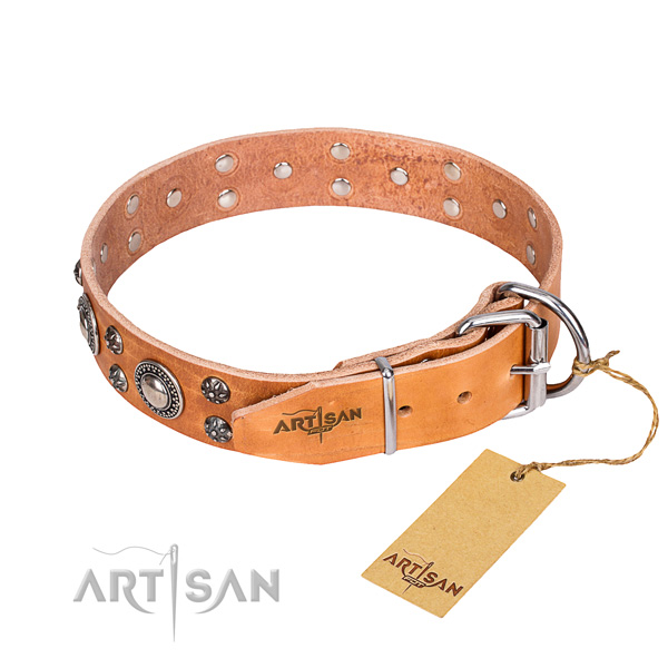 Comfortable wearing decorated dog collar of best quality full grain natural leather