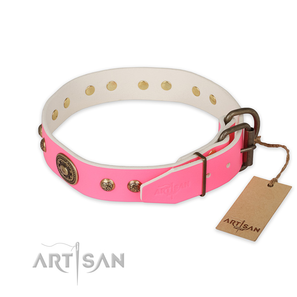 Rust-proof D-ring on natural genuine leather collar for daily walking your pet
