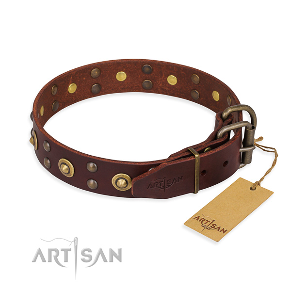 Durable buckle on full grain natural leather collar for your impressive doggie