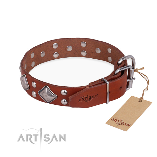 Genuine leather dog collar with remarkable rust-proof decorations