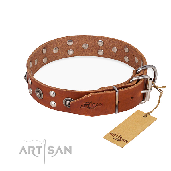Corrosion proof buckle on full grain natural leather collar for your beautiful pet