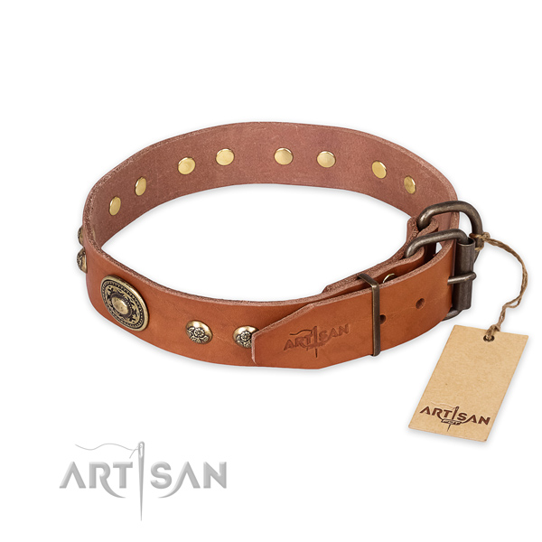 Rust-proof fittings on full grain genuine leather collar for basic training your four-legged friend