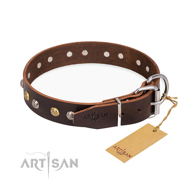 Top rate leather dog collar made for daily walking