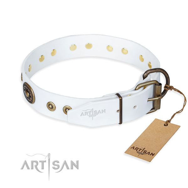 Leather dog collar made of top notch material with strong studs