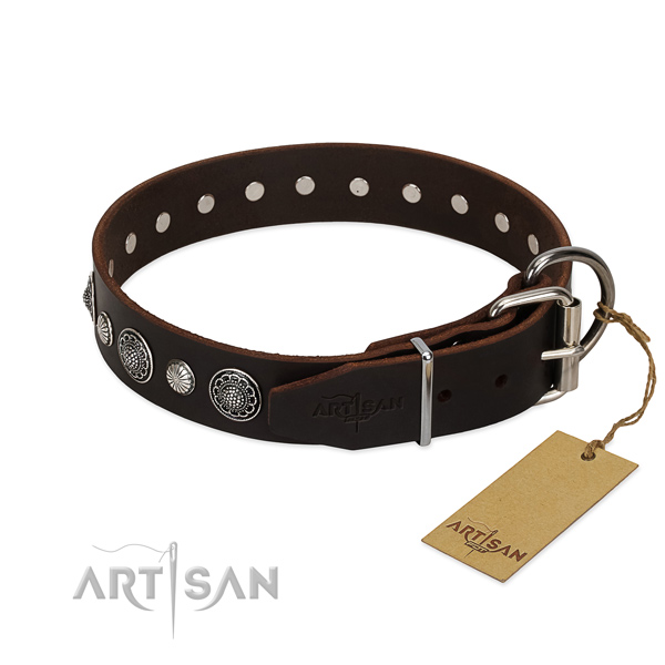 Quality full grain genuine leather dog collar with rust resistant traditional buckle