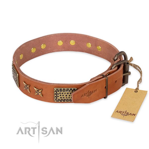 Reliable hardware on full grain natural leather collar for your stylish doggie
