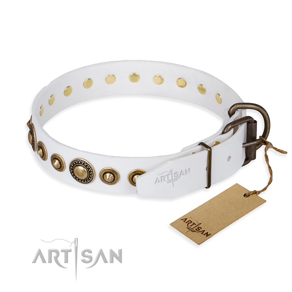 Gentle to touch full grain genuine leather dog collar created for comfy wearing