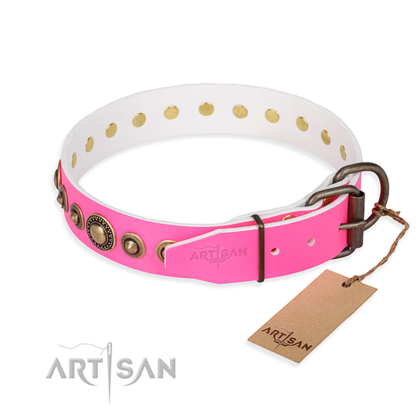 Durable full grain leather dog collar created for daily walking