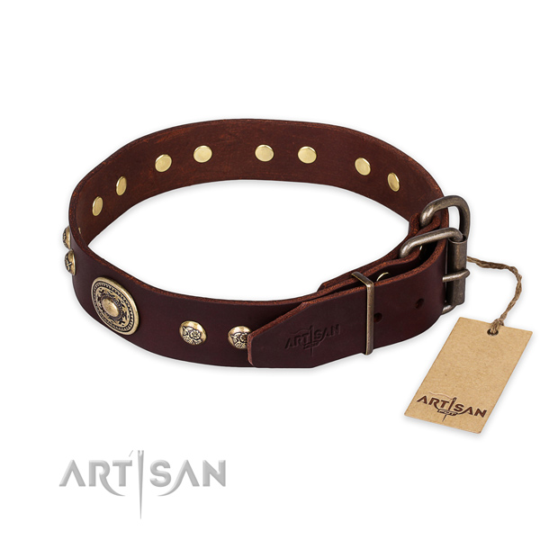 Rust-proof D-ring on full grain natural leather collar for basic training your doggie