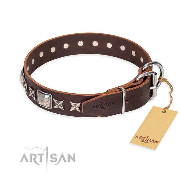 Strong decorated dog collar of leather