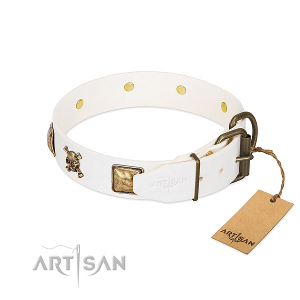 Daily walking natural leather dog collar with designer studs
