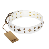 """Bright Stars"" FDT Artisan White Leather Bullmastiff Collar with Old Bronze Look Decorations"