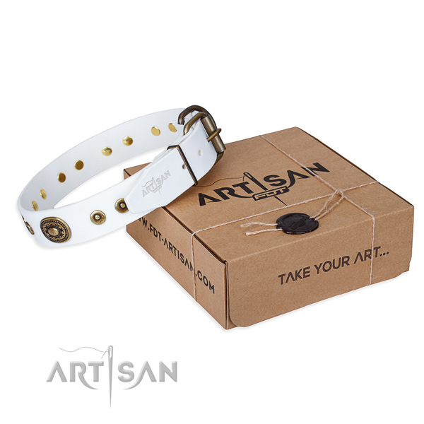 Natural genuine leather dog collar made of top rate material with strong D-ring