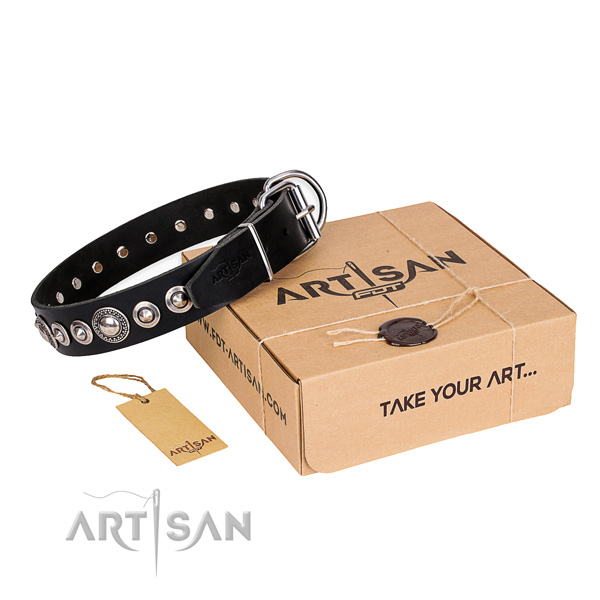 Strong natural leather dog collar