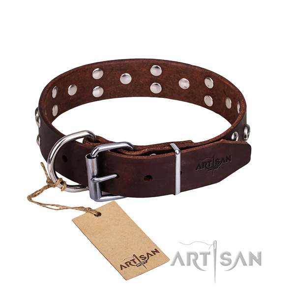 Comfortable wearing dog collar of top quality genuine leather with decorations