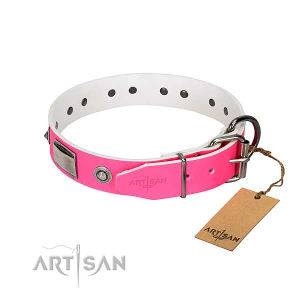 Awesome dog collar of genuine leather with adornments