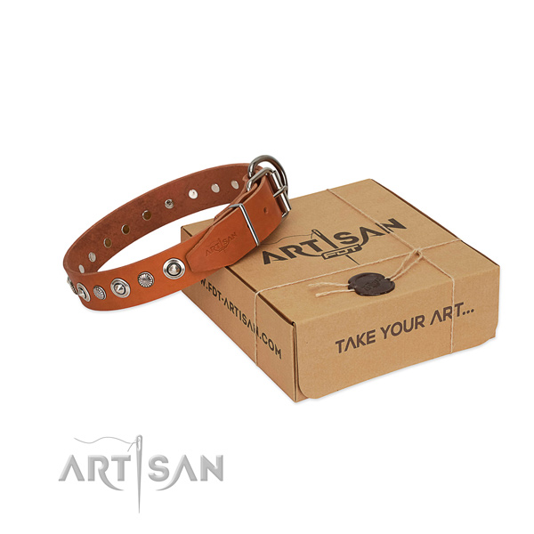 High quality natural leather dog collar with fashionable adornments