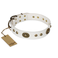 """Adorable Dream"" FDT Artisan White Leather Bullmastiff Collar"