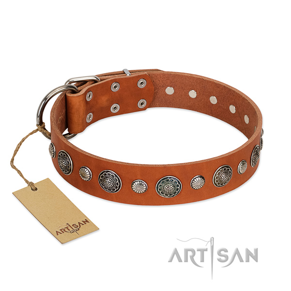 Best quality Full grain natural leather dog collar with corrosion proof hardware