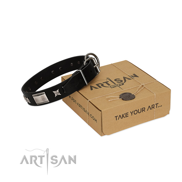 Gentle to touch full grain leather dog collar with durable hardware