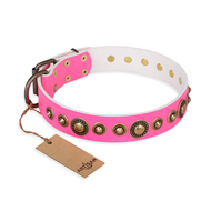 """Pink Gloss"" FDT Artisan Leather Bullmastiff Collar with Old-Bronze Plated Circles and Studs"
