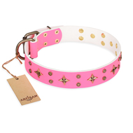 """Chi-Chi Pink Rose"" FDT Artisan Leather Bullmastiff Collar with Decorations"