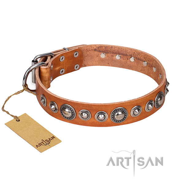 Natural genuine leather dog collar made of soft to touch material with rust-proof hardware
