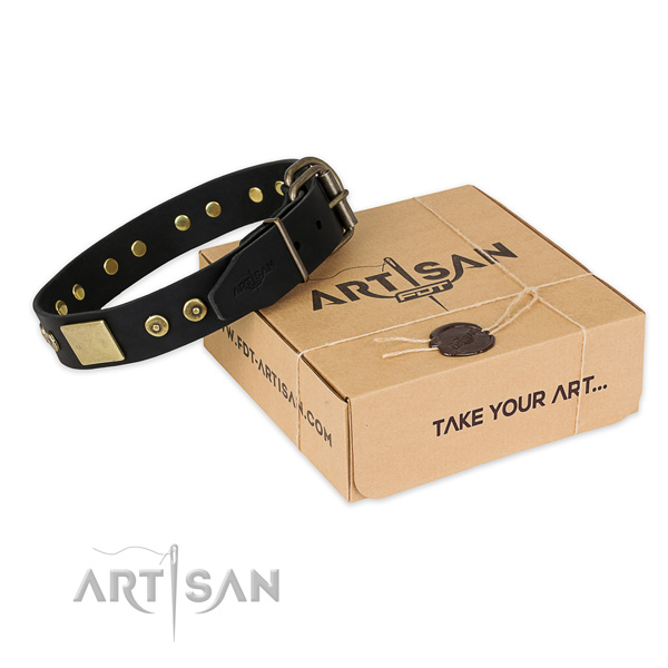 Reliable buckle on full grain genuine leather dog collar for comfortable wearing