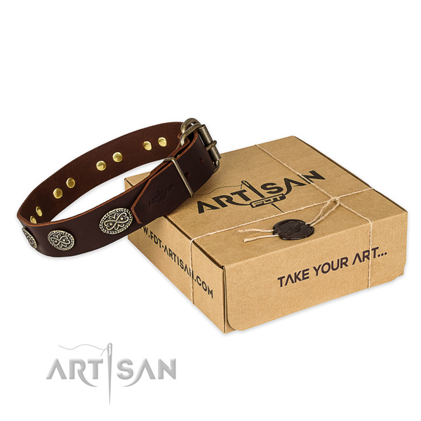 Rust-proof fittings on full grain leather collar for your beautiful doggie