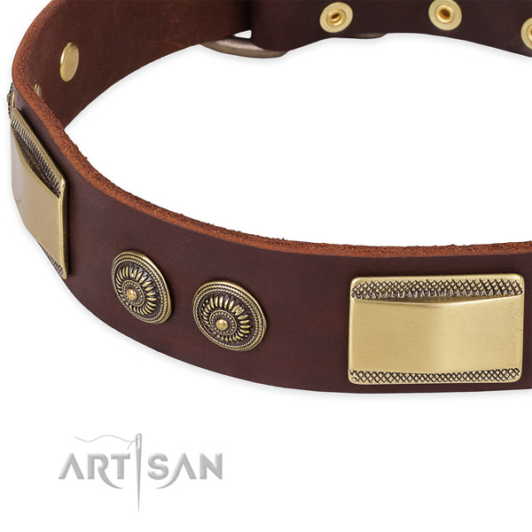 Stylish design full grain leather collar for your lovely four-legged friend