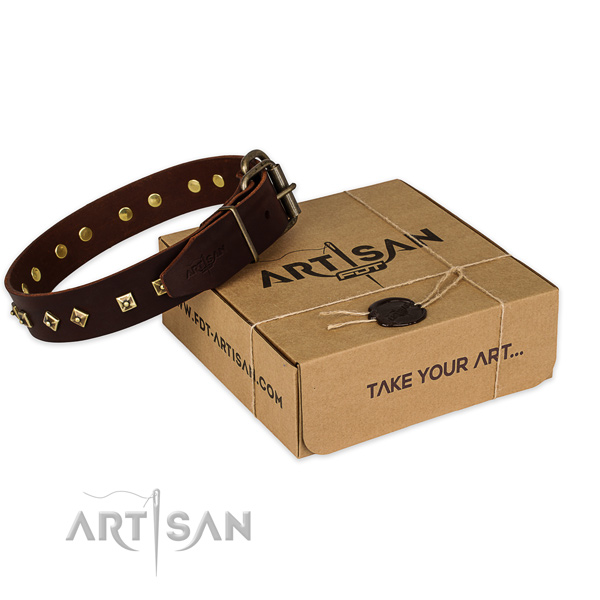 Durable traditional buckle on genuine leather dog collar for handy use