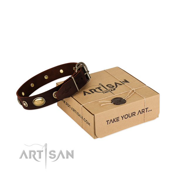 Strong buckle on natural leather dog collar for your dog