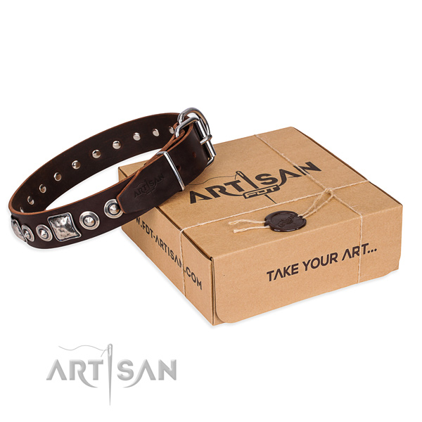 Genuine leather dog collar made of soft to touch material with corrosion proof buckle