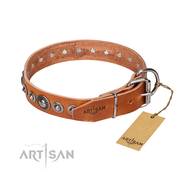 Full grain genuine leather dog collar made of soft to touch material with strong adornments