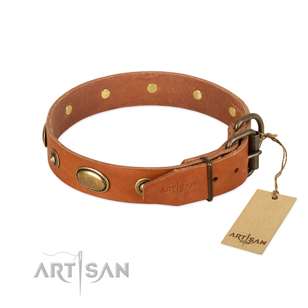 Rust-proof fittings on full grain natural leather dog collar for your doggie