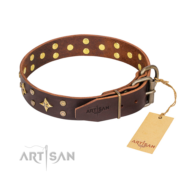 Daily walking embellished dog collar of fine quality full grain natural leather