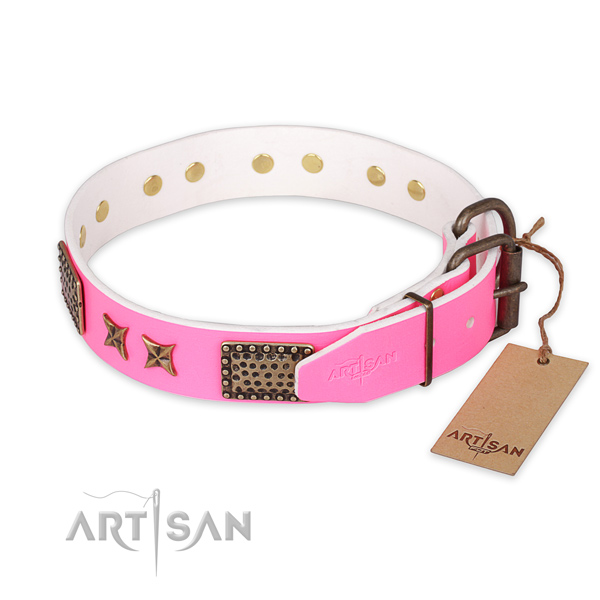 Durable traditional buckle on full grain genuine leather collar for your attractive dog