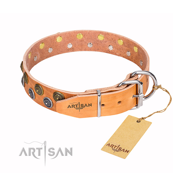 Daily use embellished dog collar of durable genuine leather