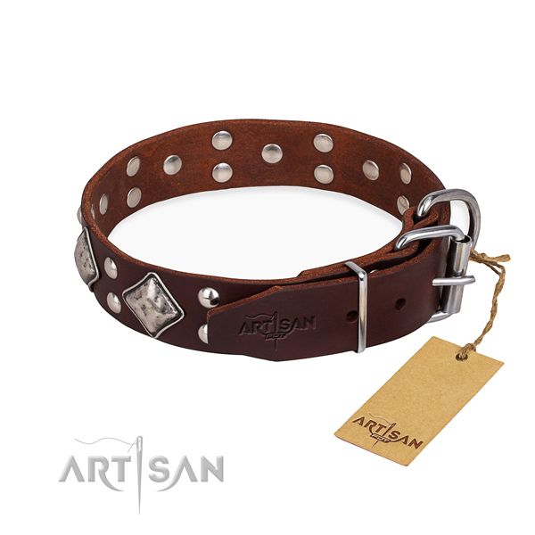 Full grain genuine leather dog collar with extraordinary durable embellishments