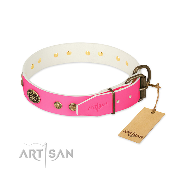 Corrosion proof buckle on full grain natural leather dog collar for your doggie
