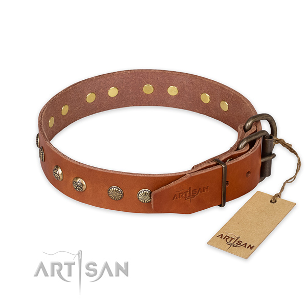 Strong buckle on full grain natural leather collar for your lovely doggie