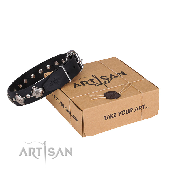 Easy wearing dog collar of finest quality genuine leather with embellishments