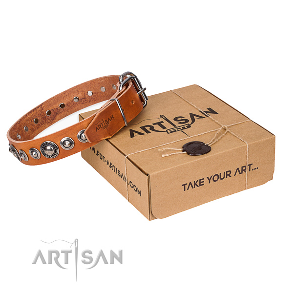 Full grain genuine leather dog collar made of top notch material with reliable fittings